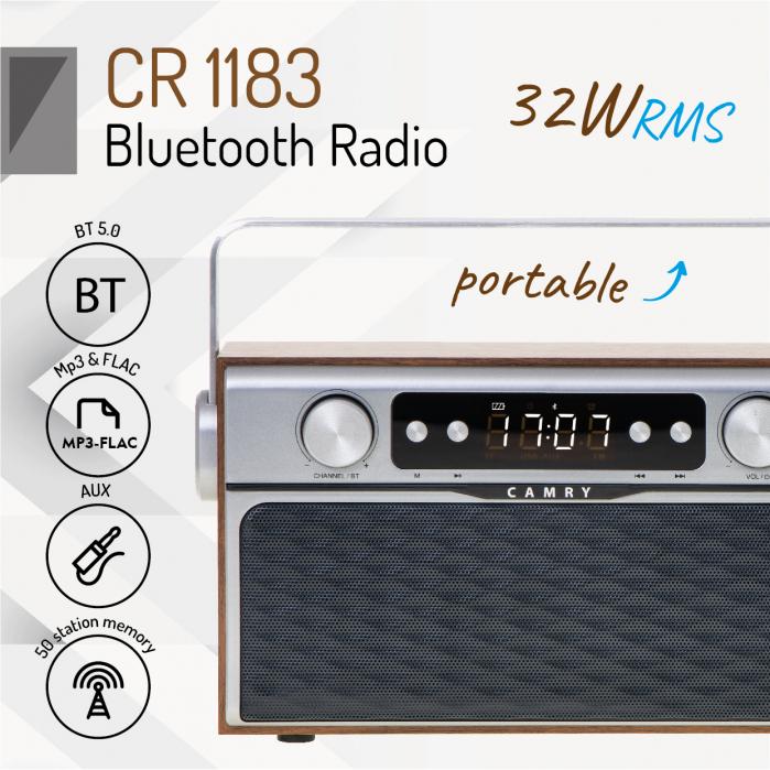 Radio bluetooth 5.0 MECR1183 portabil cu aspect retro,  memorie 50 posturi, redare de pe USB si card SD, intrare auxiliara, ceas, putere 16W 2