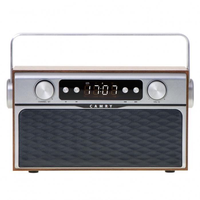 Radio bluetooth 5.0 MECR1183 portabil cu aspect retro,  memorie 50 posturi, redare de pe USB si card SD, intrare auxiliara, ceas, putere 16W 0