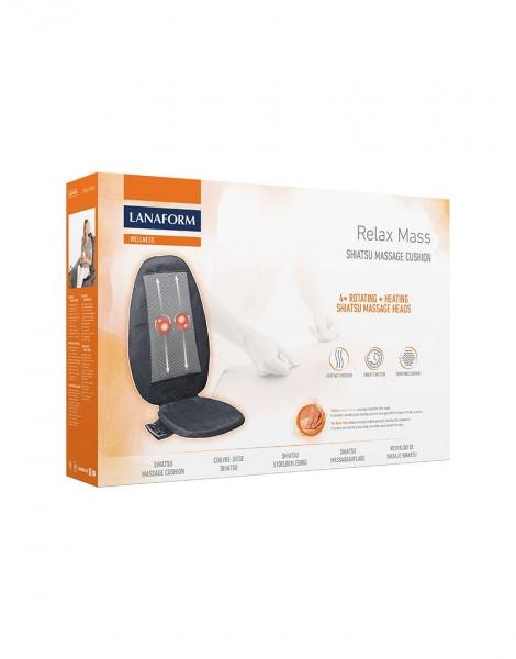 Saltea masaj Lanaform - Relax Mass cu incalzire si vibratii, masaj Shiatsu, 3 zone masaj, 3 intensitati, 68,8x15,2x45,7 cm 4