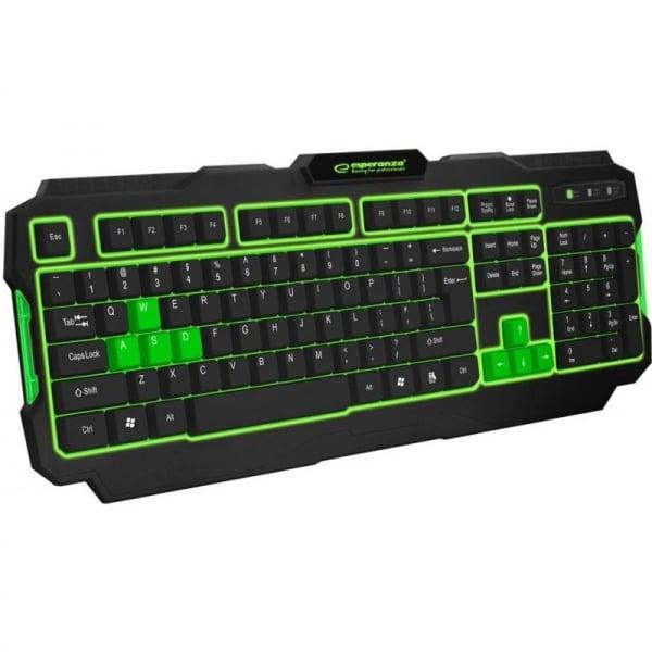 Tastatura gaming USB, iluminata LED verde, 104 taste, Shadow Esperanza 0