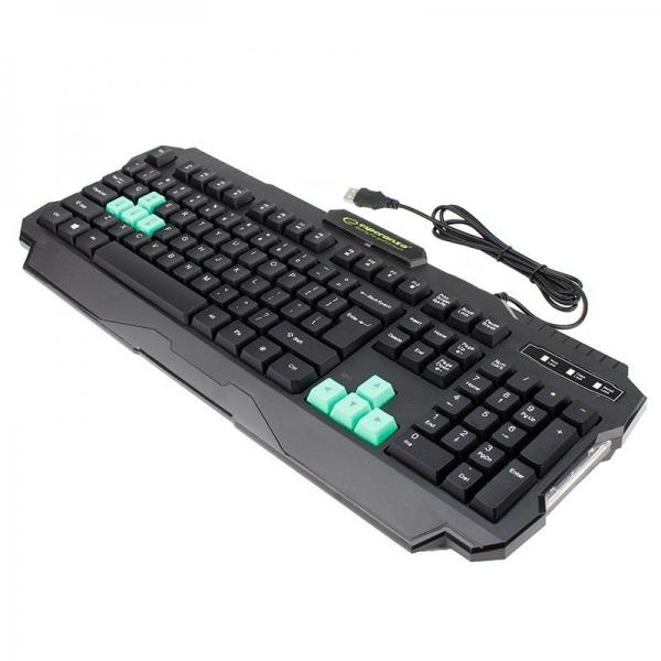 Tastatura gaming USB, iluminata LED verde, 104 taste, Shadow Esperanza 1