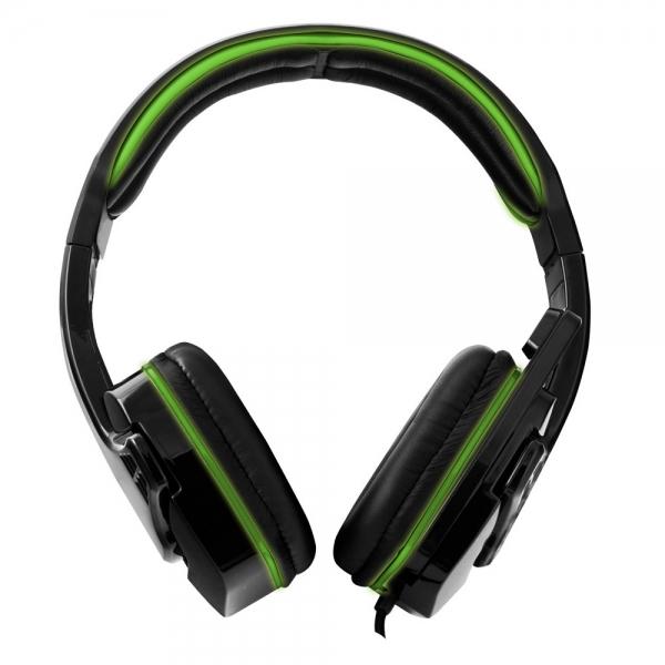 Casti gaming stereo cu microfon si control volum RAVEN Verde fir textil 2m 2 x jack 3.5mm 1