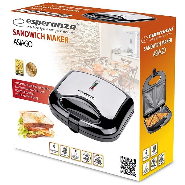 Sandwich Maker 1000 W, placi neaderente, termostat, indicator LED 1