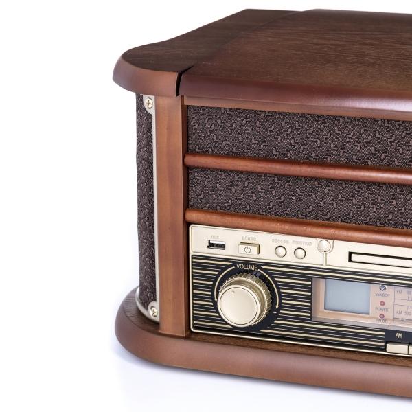 Pick up retro sistem audio vintage carcasa din lemn, radio, CD, port USB intrare auxiliara si inregistrare 2