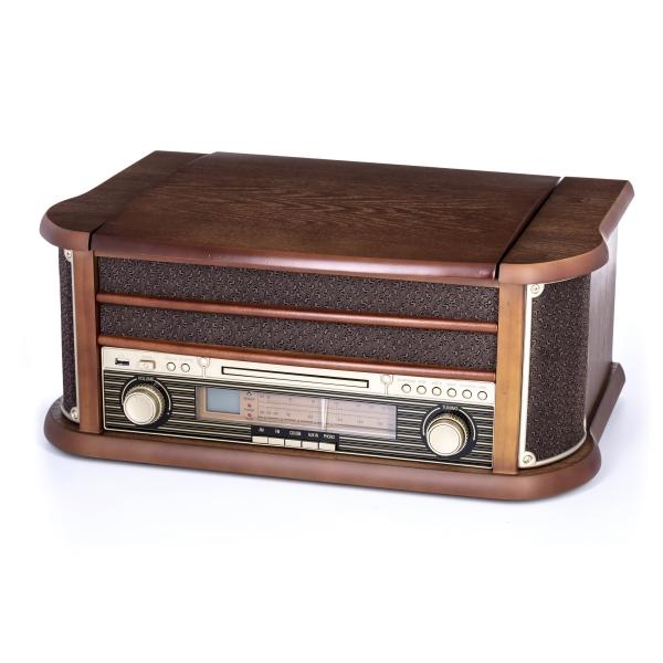 Pick up retro sistem audio vintage carcasa din lemn, radio, CD, port USB intrare auxiliara si inregistrare 1