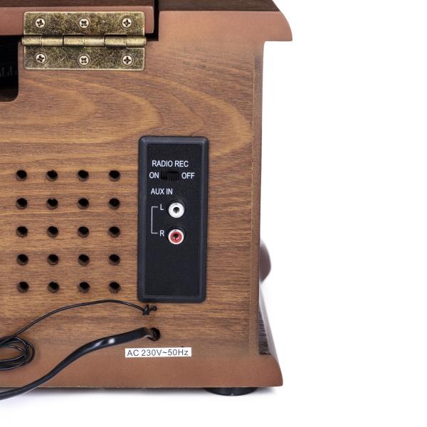 Pick up retro sistem audio vintage carcasa din lemn, radio, CD, port USB intrare auxiliara si inregistrare 4