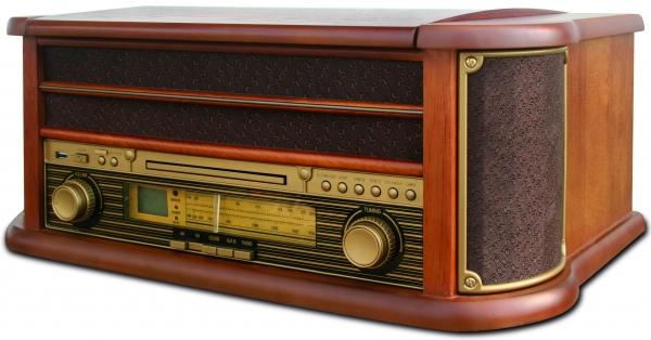 Pick up retro sistem audio vintage carcasa din lemn, radio, CD, port USB intrare auxiliara si inregistrare 5