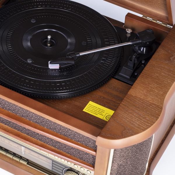 Pick up retro sistem audio vintage carcasa din lemn, radio, CD, port USB intrare auxiliara si inregistrare 3