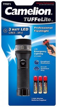 Lanterna profesionala 3 watt CREE LED, semnalizare de urgenta,  iluminare 200 m si vizibilitate pana la 5 mile, 3 baterii AAA incluse, Camelion T7071 [0]