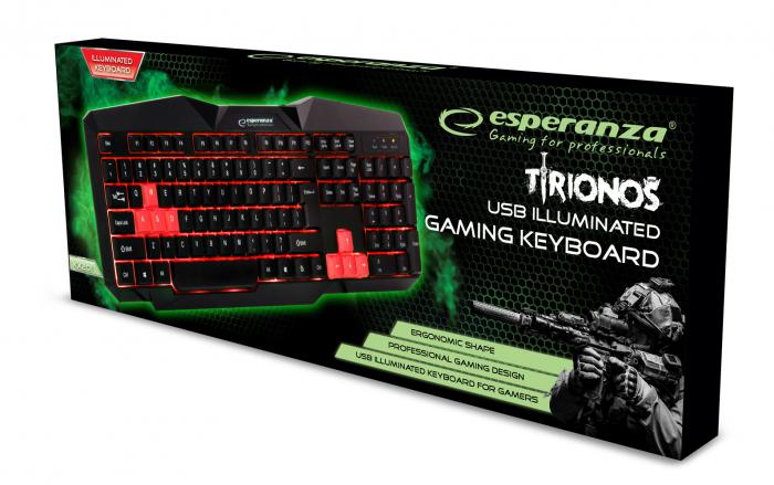 tastatura gaming iluminata cu LED rosu 1