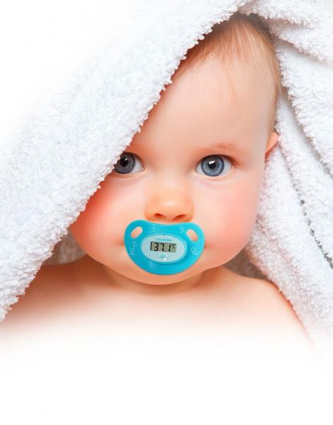 Termometru pentru copii tip suzeta, ecran LCD indicator febra, baterie slaba, semnal sonor, baterie CR2032 CADOU 0