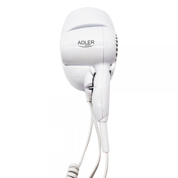 Uscator de par pentru perete, 2 viteze, 1600W, ideal pentru hotel, oprire automata, cablu 1.6 m, alb 0