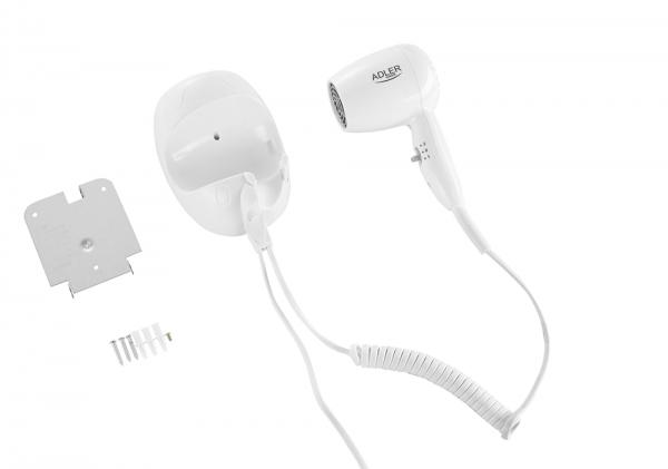 Uscator de par pentru perete, 2 viteze, 1600W, ideal pentru hotel, oprire automata, cablu 1.6 m, alb 4