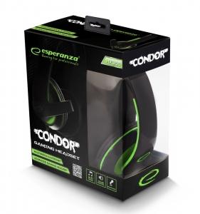 Casti stereo cu microfon de inalta fidelitate si control de volum pe fir pentru gamers, Condor verde [3]