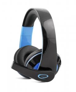 Casti stereo cu microfon, control de volum pe fir pentru gamers, Condor albastru conexiune jack 3.5 mm0
