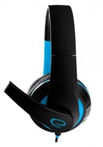 Casti stereo cu microfon, control de volum pe fir pentru gamers, Condor albastru conexiune jack 3.5 mm2