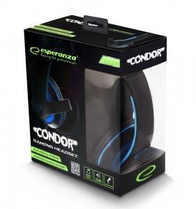 Casti stereo cu microfon, control de volum pe fir pentru gamers, Condor albastru conexiune jack 3.5 mm3