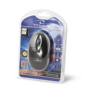 Mouse wireless 3D optic, Titanum Vulture, 1000dpi, 2.4GHz, cu forma ergonomica, 3 butoane, negru-gri1