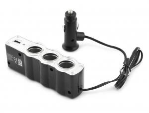 Incarcator telefon si dispozitive mobile port  USB  pentru Auto cu splitter 3 iesiri prize bricheta pentru folosirea concomitenta a aparatelor1