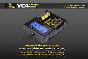 Incarcator universal profesional VC4, display LCD, afisaj si control al nivelului de incarcare, pentru  acumulatori AA (R06), AAA (R03), R14 (C), R20 (D), acumulatori pentru tigari electronice (18650)3