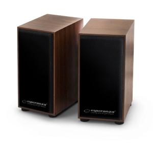 Boxe stereo conectare USB pentru laptopuri notebook-uri, desktop-uri sau alte dispozitive, fabricatie din lemn design clasic culoare cires0