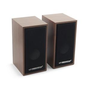 Boxe stereo conectare USB pentru laptopuri notebook-uri, desktop-uri sau alte dispozitive, fabricatie din lemn design clasic culoare cires1
