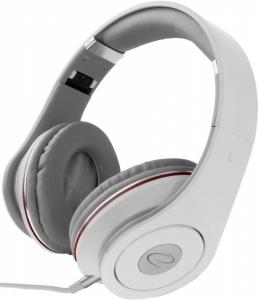 Casti Stereo  Over-Ear cu fir lung de 5m, perne moi cu izolatie fonica perfecta, control volum pe fir, reglaj usor pe dimensiunea capului si pliabile, adaptor mufa jack 3.5 inclus culoare alb cu rosu0