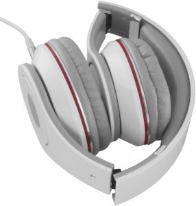 Casti Stereo  Over-Ear cu fir lung de 5m, perne moi cu izolatie fonica perfecta, control volum pe fir, reglaj usor pe dimensiunea capului si pliabile, adaptor mufa jack 3.5 inclus culoare alb cu rosu1