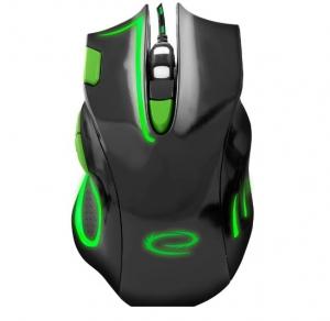 """Mouse gaming optic 7D  cu functie """"Double Click"""" si butoane inainte/inapoi facile culoarea negru cu verde design ergonomic0"""