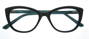 Rame de ochelari, model de dama, design modern, negru cu interior verde, include toc si laveta [0]