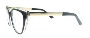 Rame de ochelari, model de dama, design modern, negru cu detaliu auriu, include toc si laveta [2]