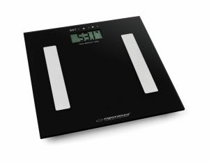 Cantar electronic cu analizator de grasime, 4 senzori precisi, ecran LCD, sticla securizata, negru, 180 kg max + 2 baterii AAA cadou0
