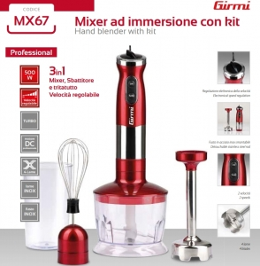 Mixer 3 in 1 Girmi - MX67 cu functie blender si chopper/tocator, 500W, viteza reglabila, lame inox, turbo3