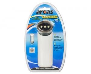 Lanterna Arcas , 3 Leduri reincarcabila, cu acumulator de Incarcare 220V alba1