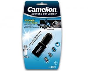 Incarcator auto dublu USB cu protectie si LED, DD801-DB Camelion0