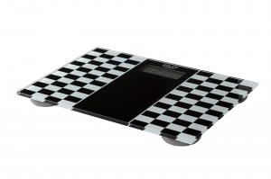 Cantar electronic de persoane, 4 senzori precisi, ecran LCD, sticla securizata, alb-negru, 150 kg max, oprire automata0