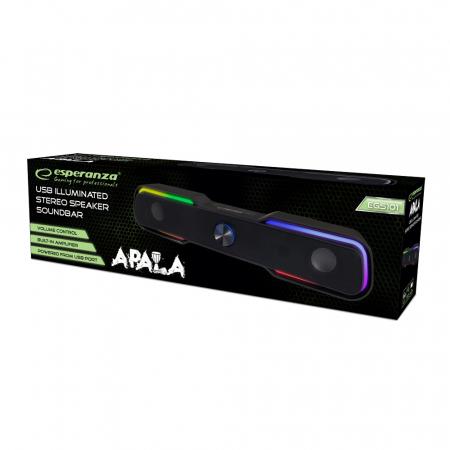 Boxa soundbar MEGS101 6W cu LED, USB, jack 3.5 utilizare PC/Laptop [1]