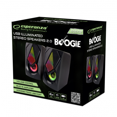 Boxe 2.0 conectare USB pentru PC/Laptop cu amplificare 5W si iluminare frontala ambientala MEGS102 [1]