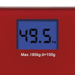 Cantar electronic de persoane Girmi, ecran LCD, sticla securizata, rosu 180 kg max, oprire automata2