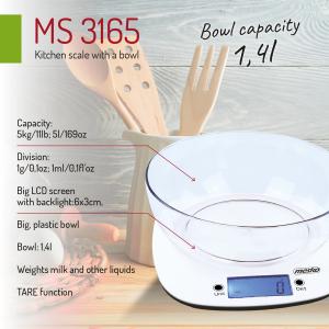 Cantar electronic de bucatarie cu bol 1.4l MEMS3165 cantarire maxima 5 kg precizie 1g functie tare si zero [3]