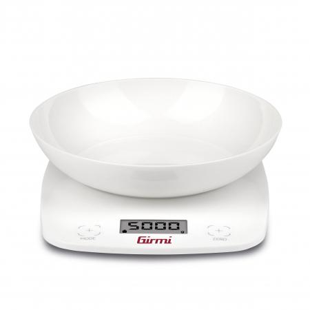Cantar de bucatarie electronic cu bol Girmi, capacitate max. 5 kg, diviziune 1g, functie tara, oprire automata, alb [0]