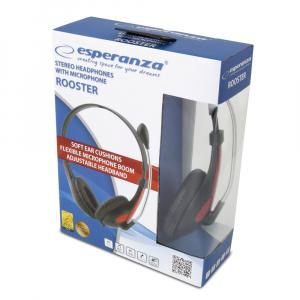 Casti cu microfon Esperanza Rooster rosu pentru gaming conexiune jack 2 x 3.5 separat microfon si separat casca, ajustabile, flexibile3