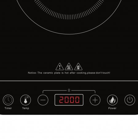 Plita electrica cu inductie Girmi, 1 ochi 2000W, reglare temperatura si putere, control soft touch, timer si afisaj LCD, oprire automata [2]