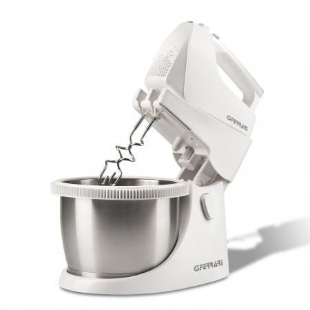 Mixer cu bol rotativ din inox G3Ferrari Bravomix Kit, 3l, 550W, 5 viteze + turbo, detasabil alb [0]