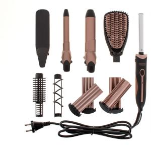 Perie electrica 5 in 1 cu 5 capete, indreptare, ondulare, creare valuri, negru-rose2