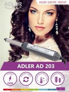 Perie electrica Adler AD203 cu aer cald 550W, 2 capete interschimbabile utile pentru uscare sau coafare [2]