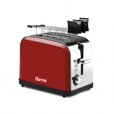Prajitor de paine rosu din inox Girmi TP56 cu 6 trepte de prajire, 3 functii, oprire automata [1]