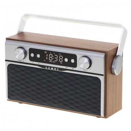 Radio bluetooth 5.0 MECR1183 portabil cu aspect retro,  memorie 50 posturi, redare de pe USB si card SD, intrare auxiliara, ceas, putere 16W3