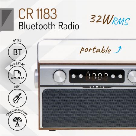 Radio bluetooth 5.0 MECR1183 portabil cu aspect retro,  memorie 50 posturi, redare de pe USB si card SD, intrare auxiliara, ceas, putere 16W2