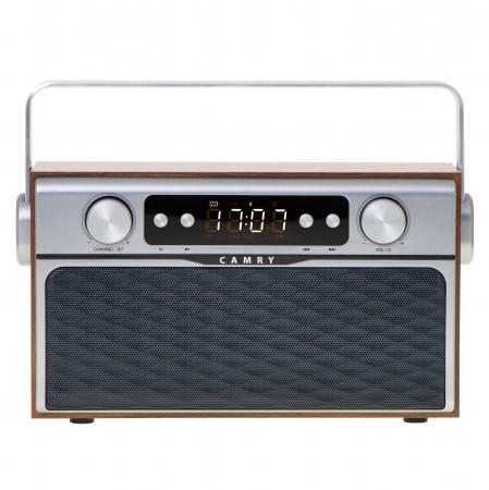Radio bluetooth 5.0 MECR1183 portabil cu aspect retro,  memorie 50 posturi, redare de pe USB si card SD, intrare auxiliara, ceas, putere 16W0